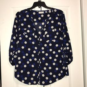 Blue polkadotted blouse